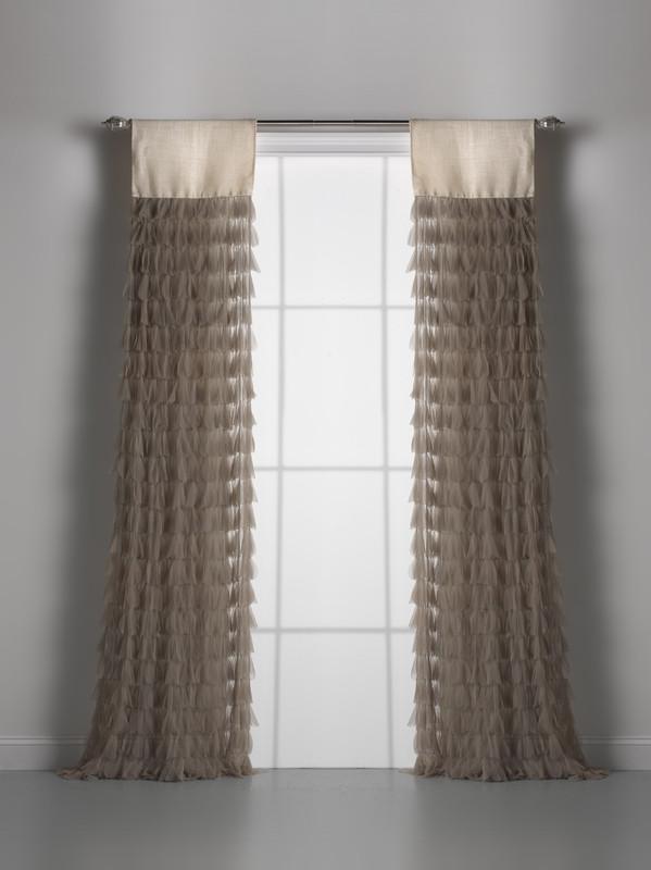 Couture Dreams Chichi Sable Petal & Ivory Jute Window Curtain Pair