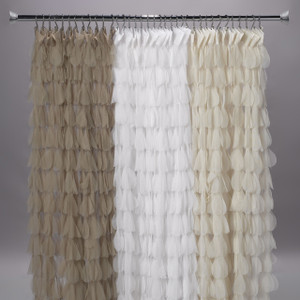 Couture Dreams Chichi Petal Shower Curtain-Sable, White, Ivory