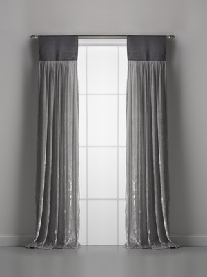 Couture Dreams Luscious Platinum Silk Velvet Window Curtain Pair