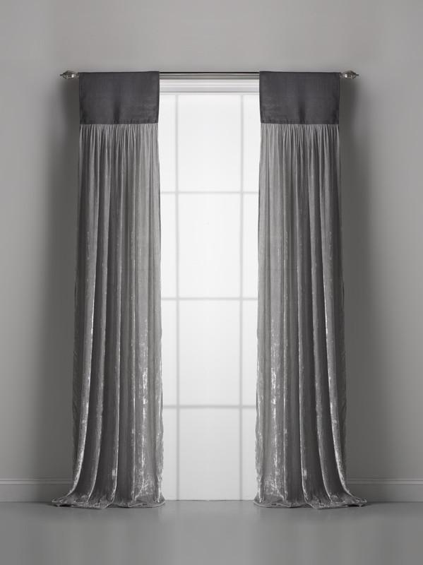 Couture Dreams Luscious Platinum Silk Velvet Window Curtain Pair
