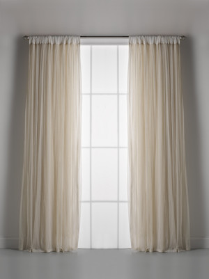 Couture Dreams Whisper Ivory Window Curtain Pair
