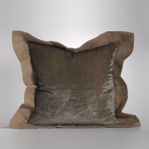 Couture Dreams Luscious Soft Earth Velvet & Jute Euro Sham