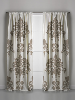 Couture Dreams Enchantique Ivory Sand Cotton Window Curtain Pair with rod pocket