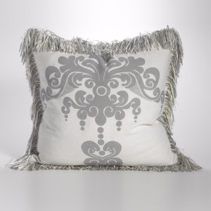 Couture Dreams Enchantique Platinum Decorative Pillow with Fringe