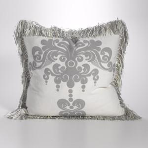 Couture Dreams Enchantique Platinum Decorative Pillow with Fringe