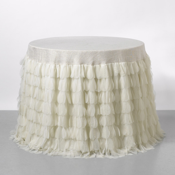 Couture Dreams Chichi Ivory Petal Shimmer Tablecloth