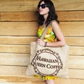 Kona Coffee Burlap Beach Bag