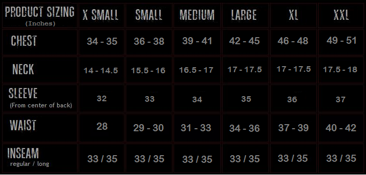 Kryptek Size Chart