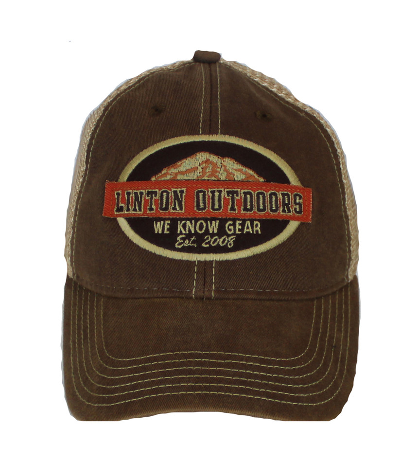 Linton Outdoors Old Fav Trucker Hat Front View Brown a000c666699