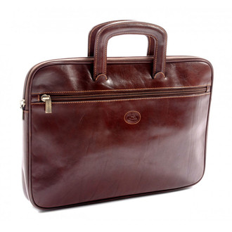 Genoa - Zip Around Document Case PI000402 Brown Front Zipper Compartment