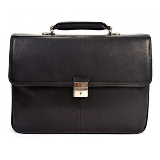 Verona Triple Compartment Briefcase PG013001 Front Black