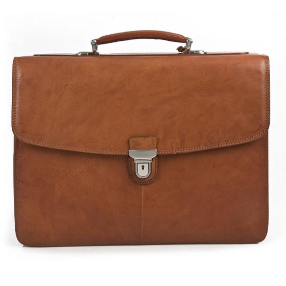 "Bella Russo 17"" Laptop Double Compartment Brief PG019701   Honey"