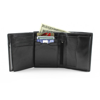 Ultimo Credit Card and Coin Case Wallet with I.D. PI408801BK Front Open With | Cards Black