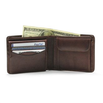 Prima Removable Credit Card Case, I.D. & Coin Pocket PG419201 | Color Brown | Open with Cards