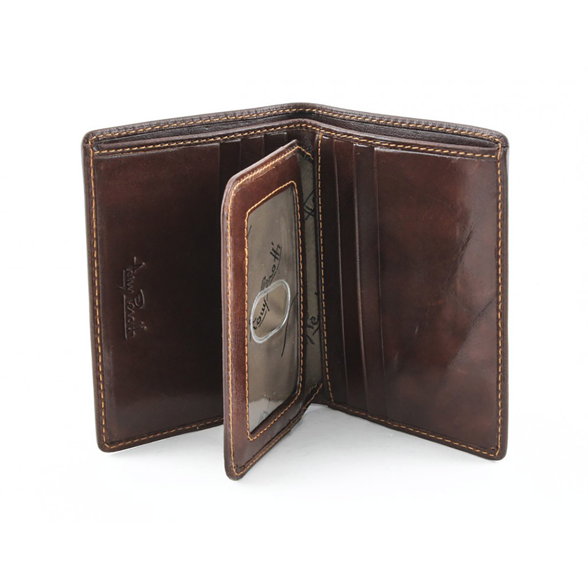 ac25a4ce27ca7 Ultimo Front Pocket Wallet with I.D. Flap Card Case PI418401 Front Open  Brown