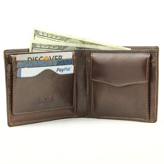 Ultimo Wallet with Removable Credit Card Case, Coin Pocket & I.D. Window PI419201 Open Brown