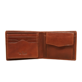 Tony Perotti Italian Leather Slim Weekend Wallet with Coin Pouch in Black