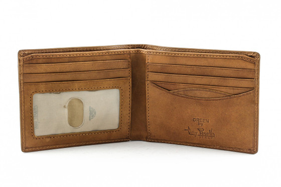 Prima Bi-Fold Wallet with I.D. PG418101 Front Open | Color Honey