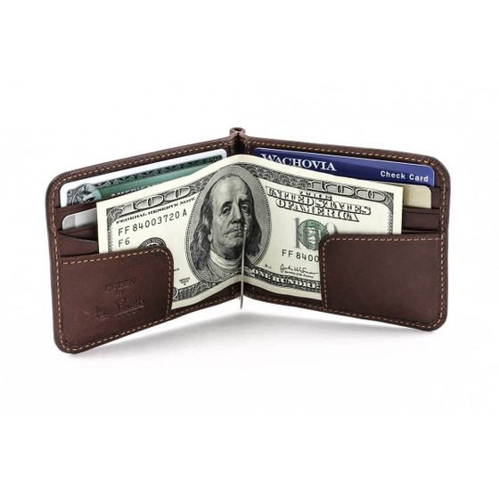 Prima Slim Money Clip Wallet PG411002 Front Open With Cards Brown