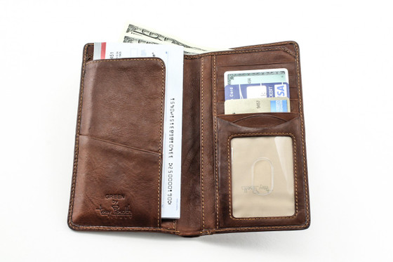 Prima Combination Checkbook Wallet  PG409004 | Color Cognac | Front Open With Cards