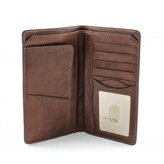 Prima Combination Checkbook Wallet  PG409004 | Color Cognac | Front Open