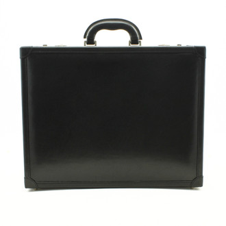 Venezia Leather Attache Case | Color Black | Leather Padded Corners