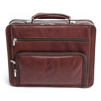 Ultimo Laptop Double-Pocket Zip Around Briefcase | Brown