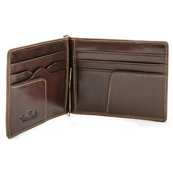 Primo Slim Money Clip Wallet PI411005 Front Open Brown