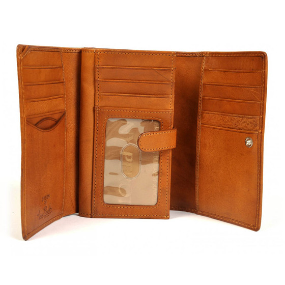 Prima Euro Wallet with I.D. Window PG421808 | Honey | Open