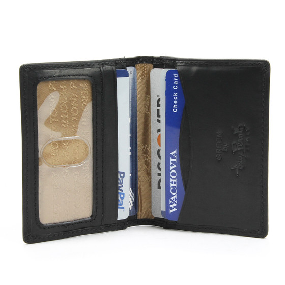 Prima Italiano Front Pocket Wallet with ID Window | Black | Front Open View