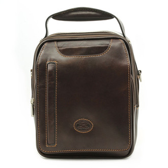 The Lugano Vertical Flap-Over Carry All Bag   Color Brown