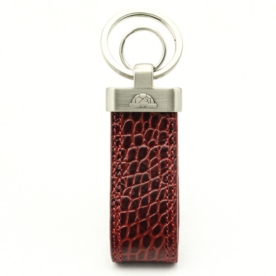 Tony Perotti Unisex Italian Bull Leather Croco Themed Double Ring Key Chain