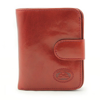 Ultimo Piccolo Wallet with I.D. and Coin Pocket | Red | Closed View