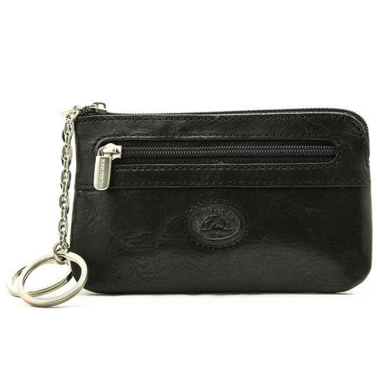 Tony Perotti Italian Leather Zippered Key Case - black