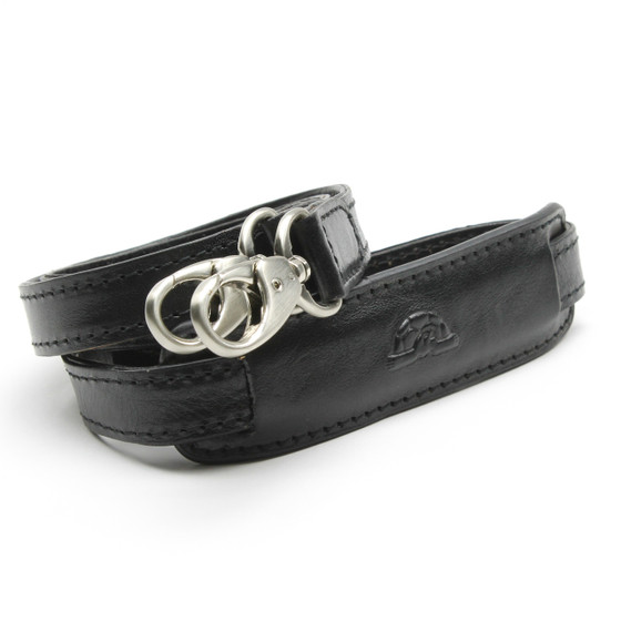Black shoulder strap with nickel finish