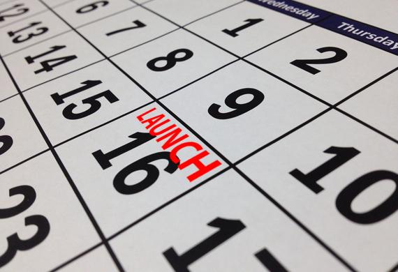 Calendar with launch milestone plan