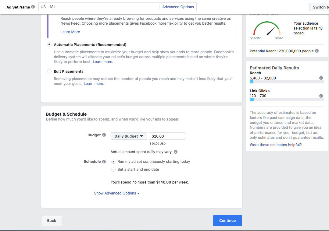 Facebook ad setting budget and schedule