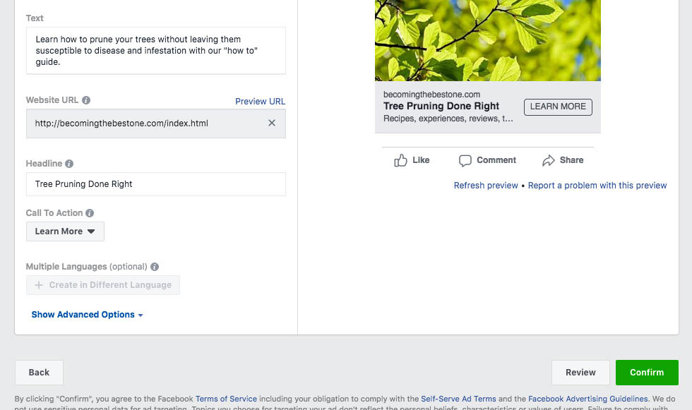 Facebook ad review or confirm selection
