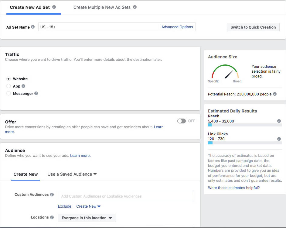 Facebook ad traffic offer and audience selection