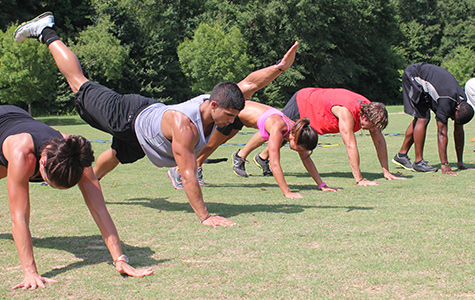 outdoor gym class using hiit high intensity interval training