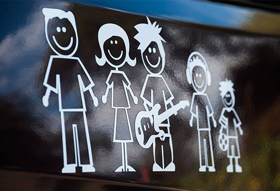 Stick figure decals evolved from the popularity of bumper stickers