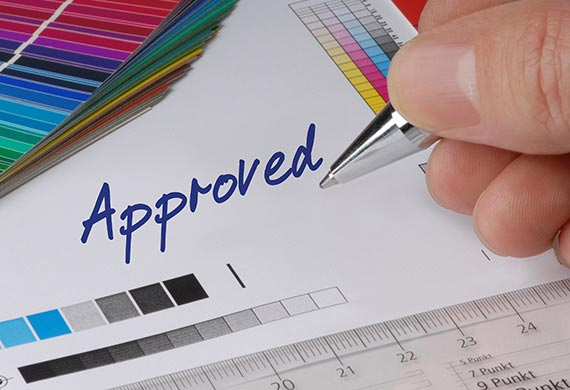 Prepress contract proof approved for print