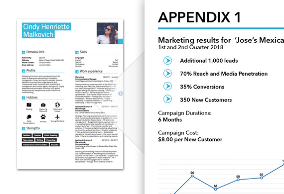 Professional portfolio appendix showing detailed marketing results