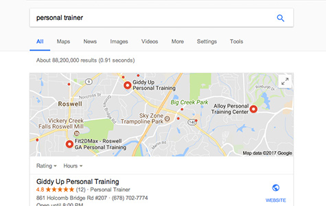 using a search engine to locate a personal trainer