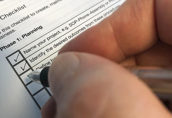 SOP organizational checklist for standard operating procedure development and implementation