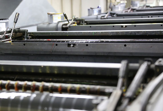 Offset printing uses a plate to transfer an image to a rubber blanket to roll the image onto paper