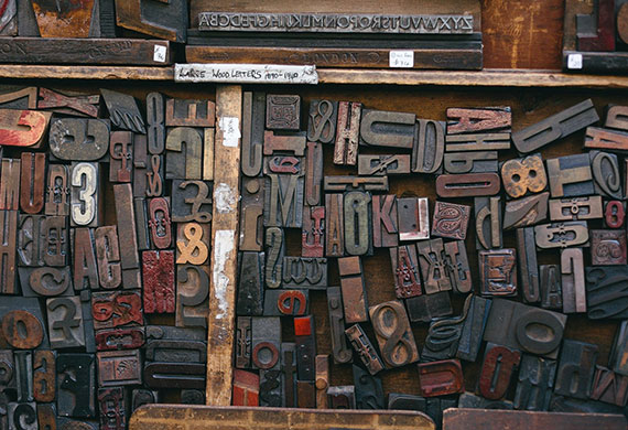 Wood printing blocks used in presses