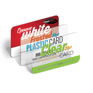 Our Clear business cards are printed on 20pt plastic full color one sided.
