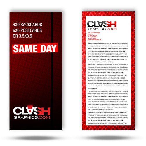 Our 1/3 page rack card is printed same day is printed in Atlanta on 12pt card stock with your choice of UV Gloss or Matte finishes.
