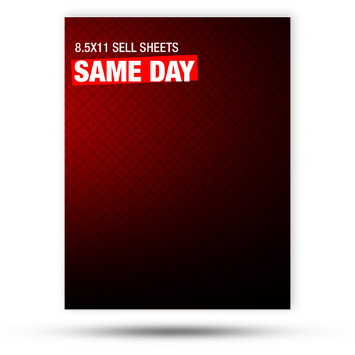 """8.5"""" x 11"""", glossy sell sheets are a great example of how our relentless pursuit of the highest quality products pays off. This 100lb gloss text is printed full bleed and full color with your option of print one side or both."""